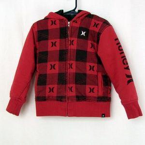 Hurley Boys Buffalo Plaid Hood Jacket 4T Zip Front